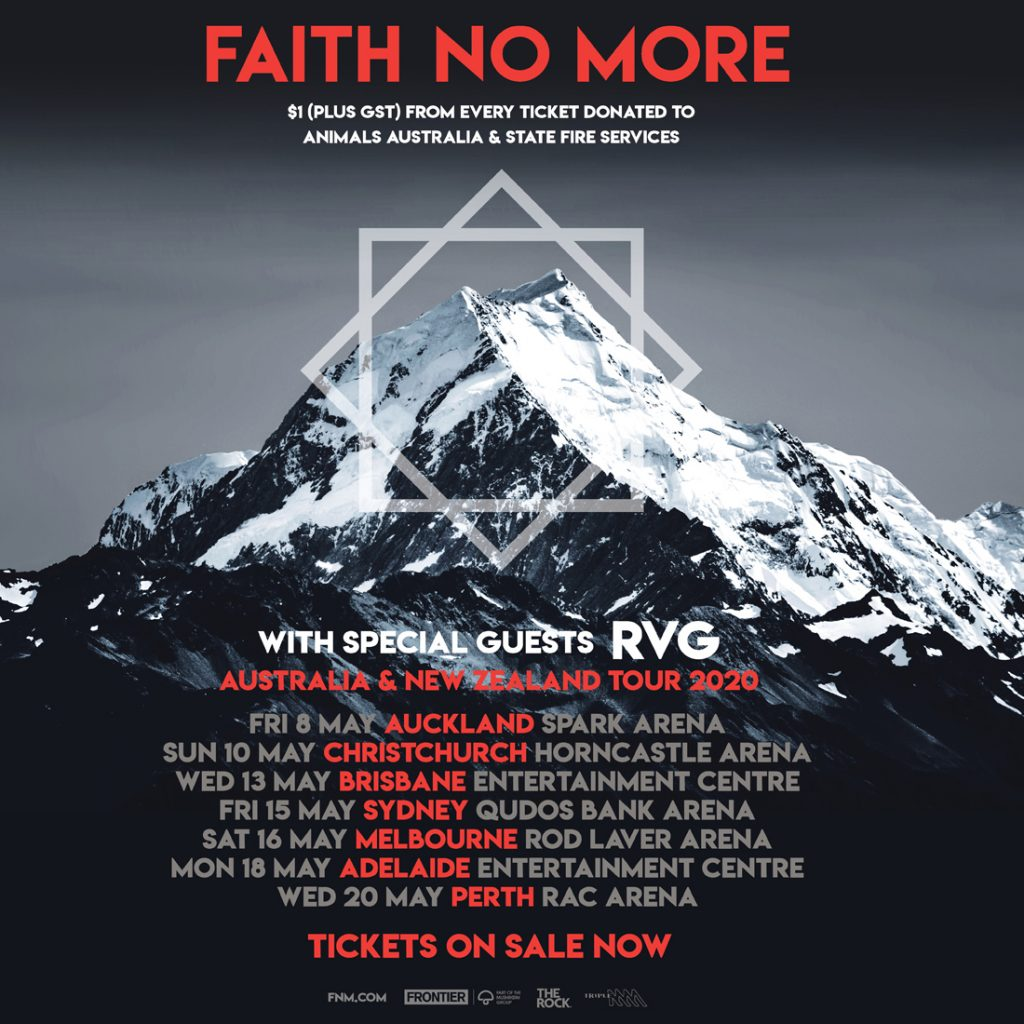 Tour poster for the upcoming Australian visit from Faith No More