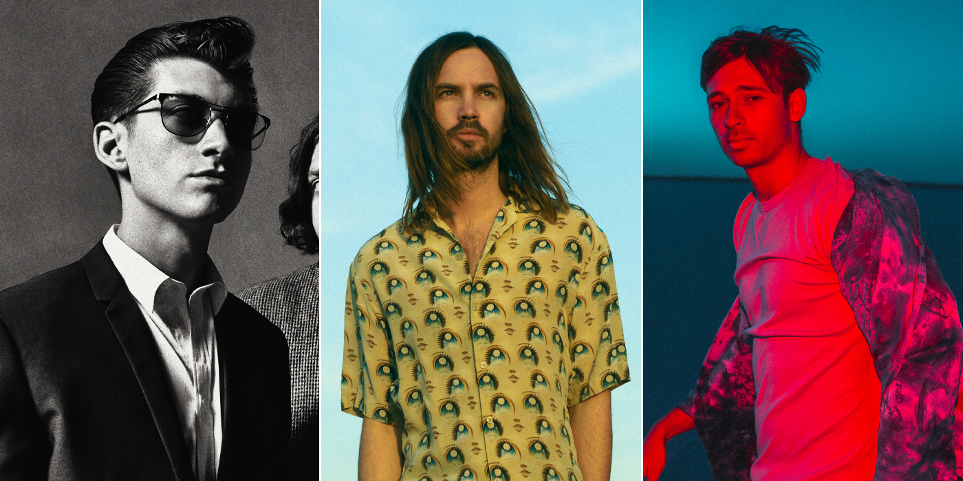 Three panel image of Hottest 100 place-getters Arctic Monkeys, Tame Impala, and Flume