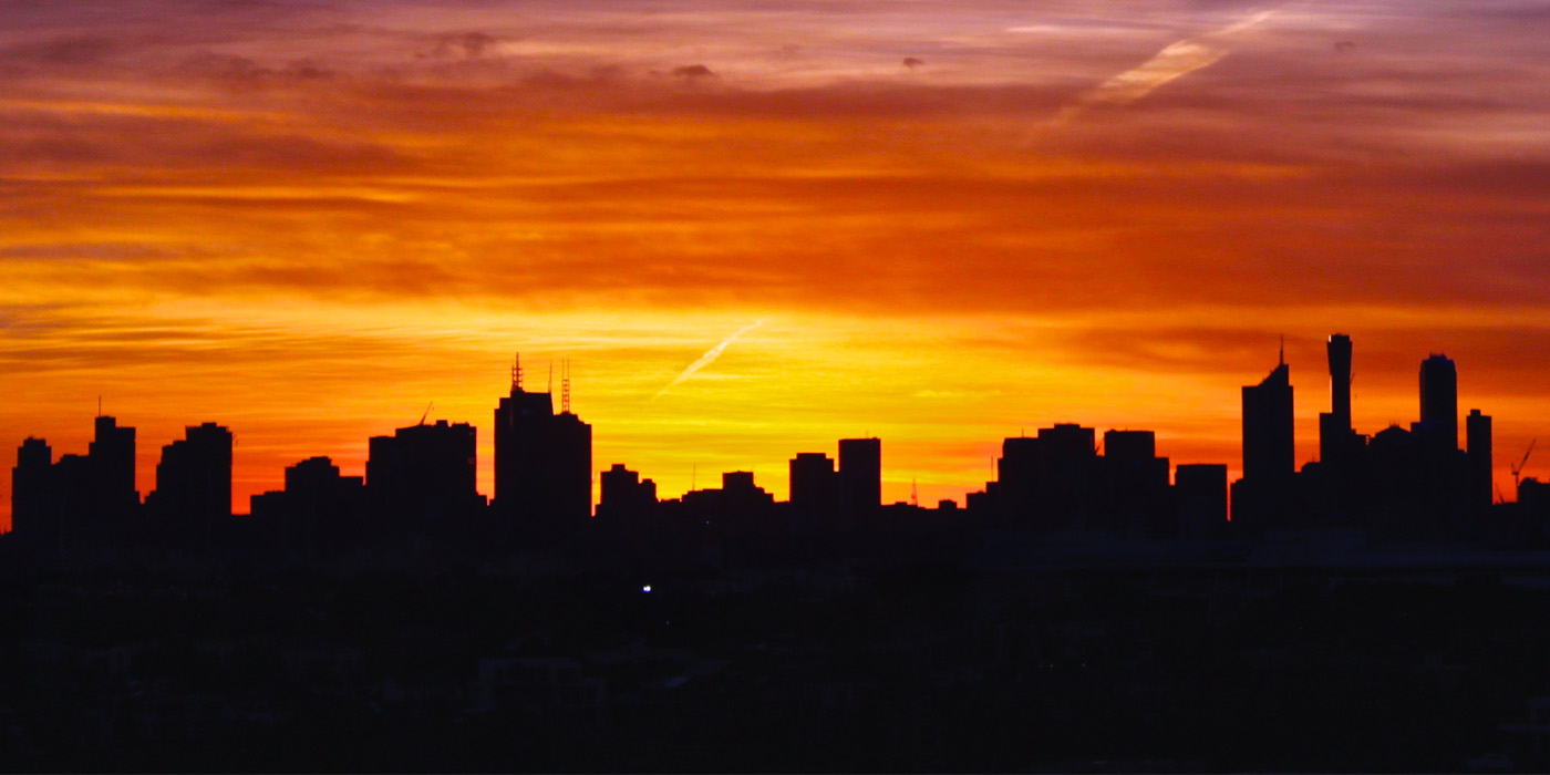 Image of a summer sunrise in Melbourne