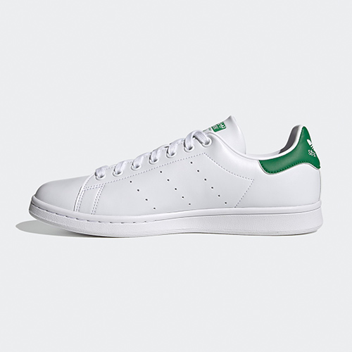 The new sustainable Stan Smiths in Cloud White / Cloud White / Green