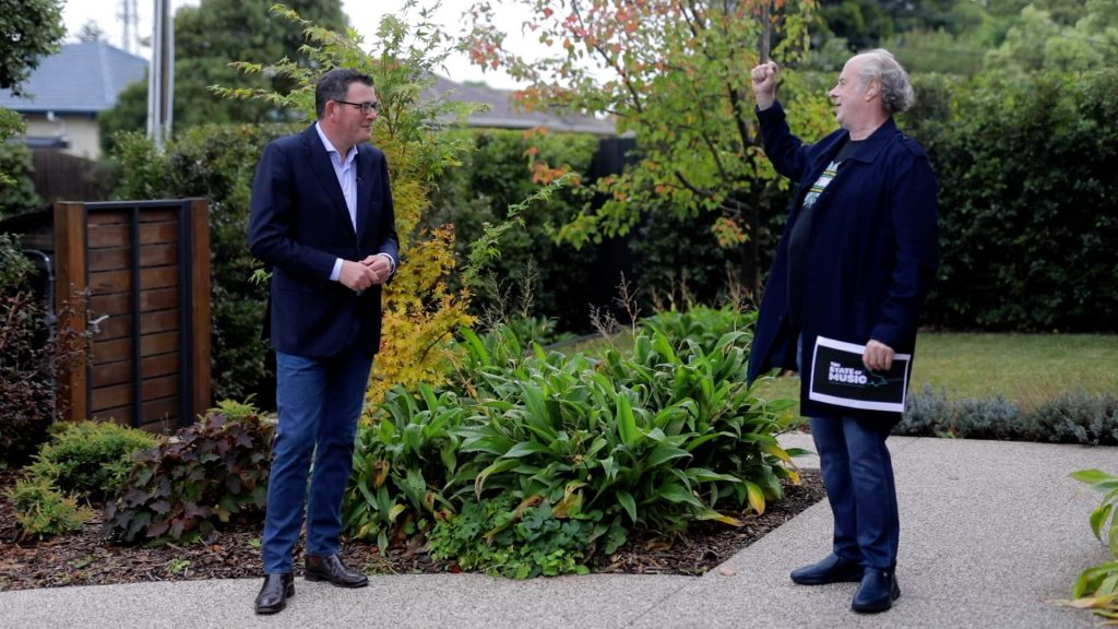 Victorian Premier Daniel Andrews with Mushroom's Chairman and Founder Michael Gudinski