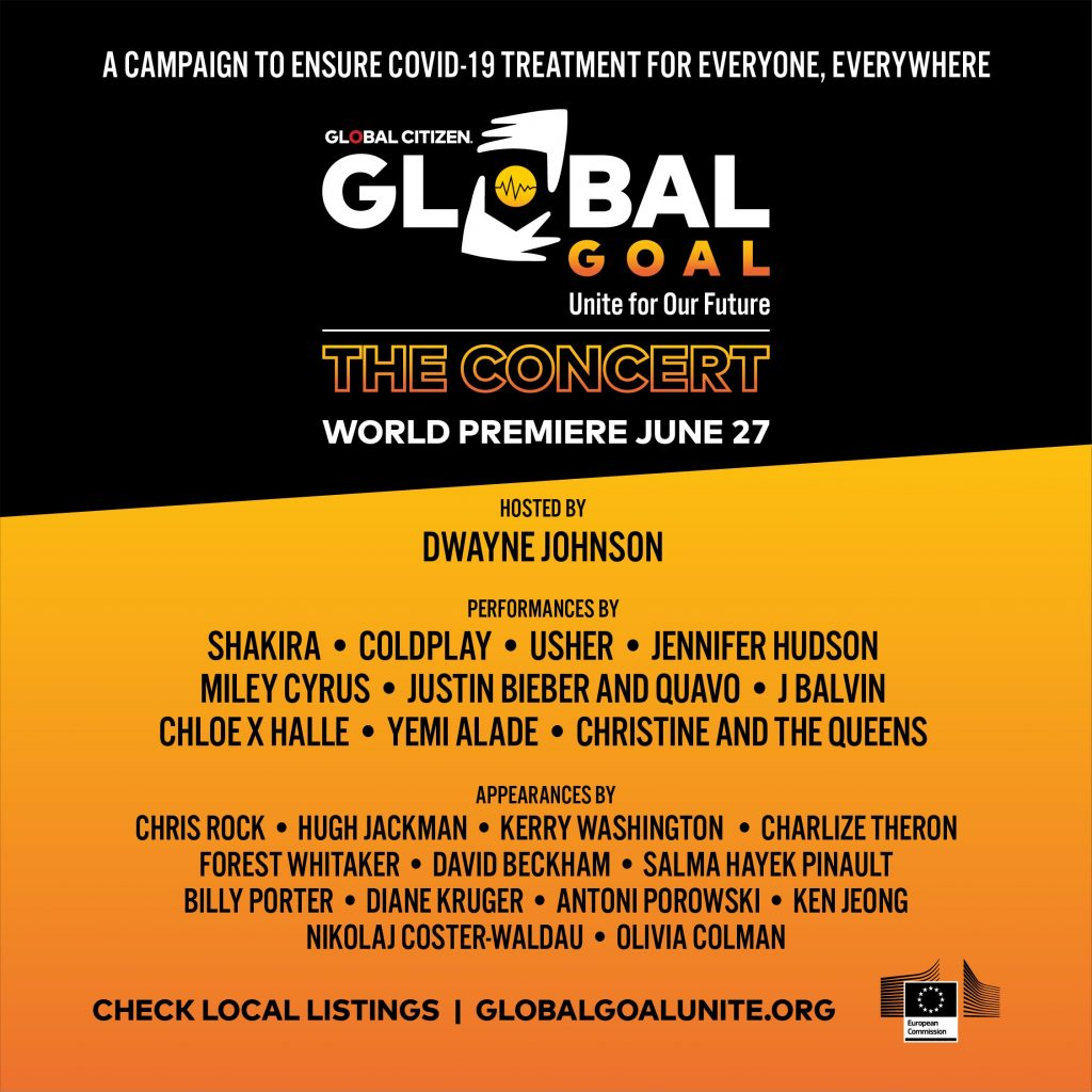 Image of the poster for the Global Citizen event, 'Global Goal: Unite for Our Future'