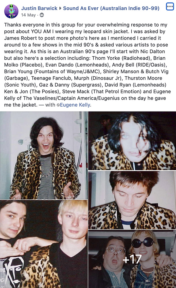 The famous leopard skin jacket post from Justin Barwick on 'Sound As Ever'