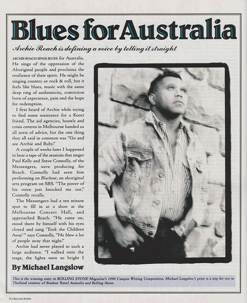 Michael Langslow's piece on Archie Roach for Rolling Stone in 1990
