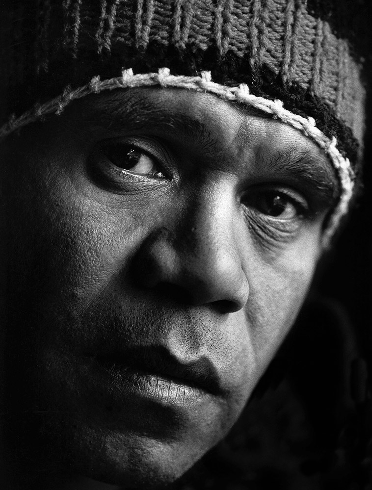 Archie Roach photographed prior to the recording of Charcoal Lane in 1989.